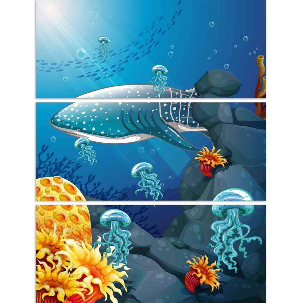ArtzFolio Shark Jelly Fish Under The Ocean Split Art Painting Panel on Sunboard-Split Art Panels-AZ5006579SPL_FR_RF_R-0-Image Code 5006579 Vishnu Image Folio Pvt Ltd, IC 5006579, ArtzFolio, Split Art Panels, Animals, Kids, Digital Art, shark, jelly, fish, under, the, ocean, split, art, painting, panel, on, sunboard, framed, canvas, print, wall, for, living, room, with, frame, poster, pitaara, box, large, size, drawing, big, office, reception, photography, of, designer, decorative, amazonbasics, reprint, sma