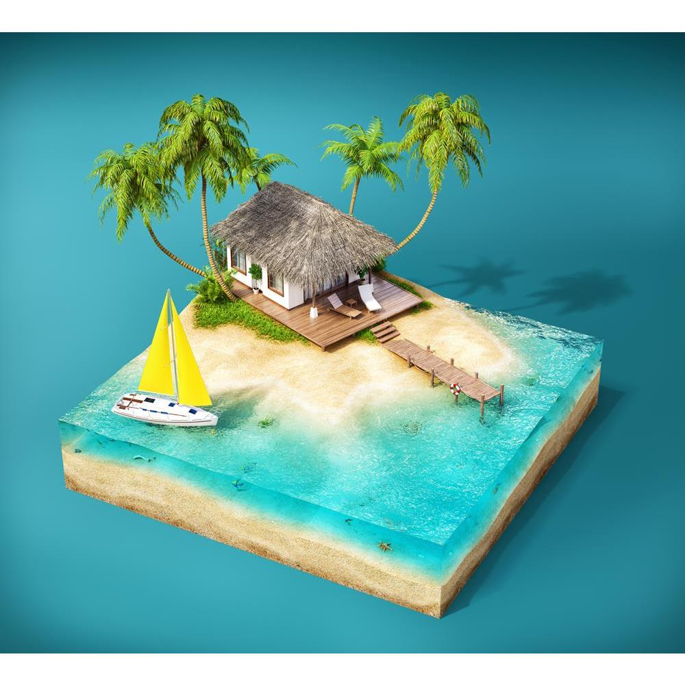 ArtzFolio Tropical Island With Palms Bungalow On A Beach Unframed Premium Canvas Painting-Paintings Unframed Premium-AZ5006602ART_UN_RF_R-0-Image Code 5006602 Vishnu Image Folio Pvt Ltd, IC 5006602, ArtzFolio, Paintings Unframed Premium, Kids, Landscapes, Digital Art, tropical, island, with, palms, bungalow, on, a, beach, unframed, premium, canvas, painting, large, size, print, wall, for, living, room, without, frame, decorative, poster, art, pitaara, box, drawing, photography, amazonbasics, big, designer,