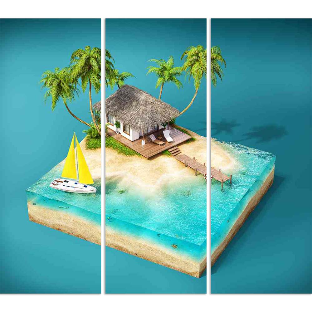 ArtzFolio Tropical Island With Palms Bungalow On A Beach Split Art Painting Panel on Sunboard-Split Art Panels-AZ5006602SPL_FR_RF_R-0-Image Code 5006602 Vishnu Image Folio Pvt Ltd, IC 5006602, ArtzFolio, Split Art Panels, Kids, Landscapes, Digital Art, tropical, island, with, palms, bungalow, on, a, beach, split, art, painting, panel, sunboard, framed, canvas, print, wall, for, living, room, frame, poster, pitaara, box, large, size, drawing, big, office, reception, photography, of, designer, decorative, ama