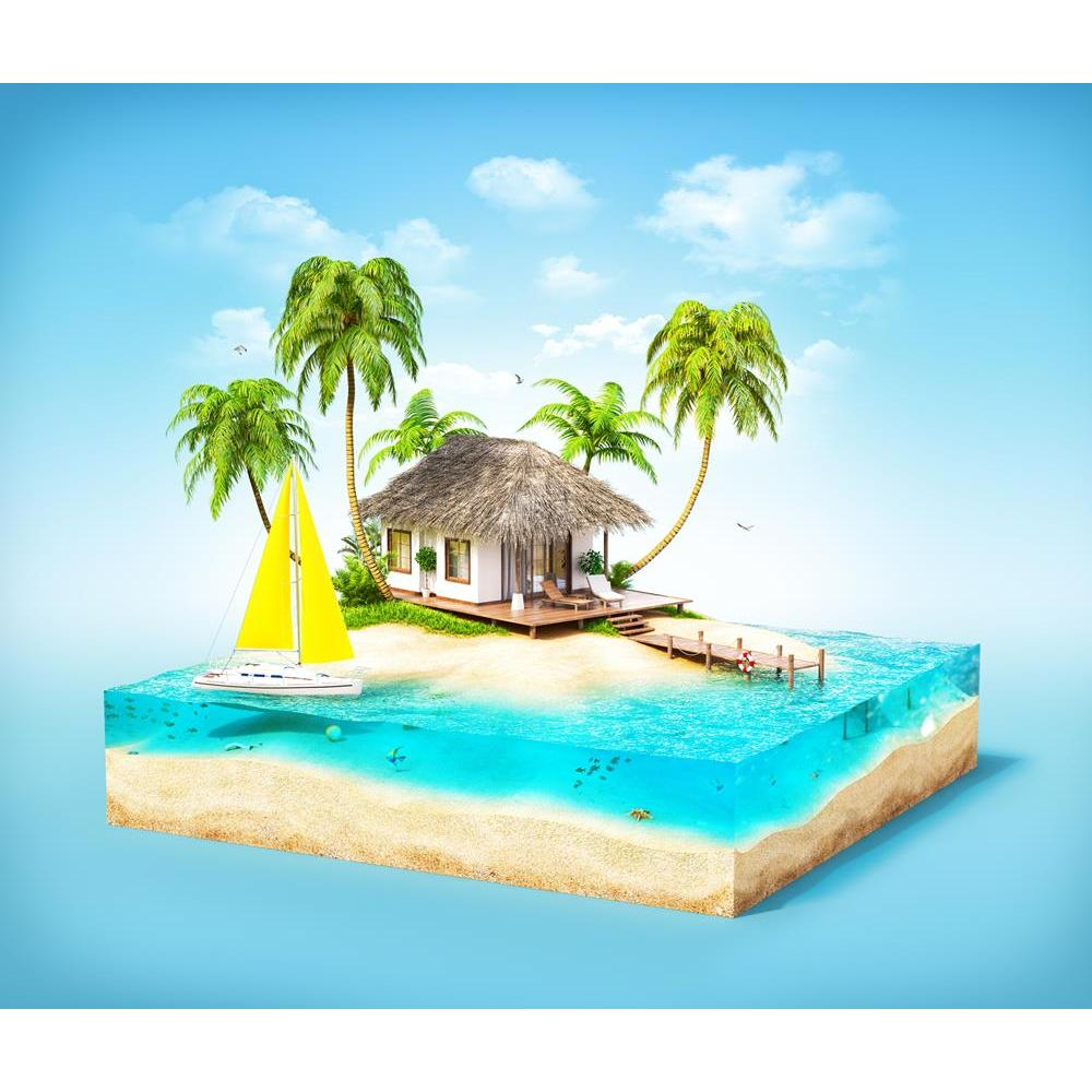 ArtzFolio Tropical Island Beach with Palms Bungalow Unframed Premium Canvas Painting-Paintings Unframed Premium-AZ5006627ART_UN_RF_R-0-Image Code 5006627 Vishnu Image Folio Pvt Ltd, IC 5006627, ArtzFolio, Paintings Unframed Premium, Kids, Landscapes, Digital Art, tropical, island, beach, with, palms, bungalow, unframed, premium, canvas, painting, large, size, print, wall, for, living, room, without, frame, decorative, poster, art, pitaara, box, drawing, photography, amazonbasics, big, designer, office, rece