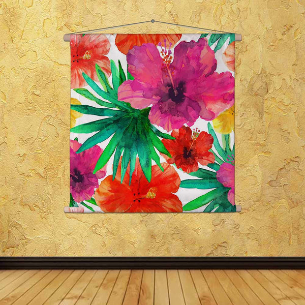ArtzFolio Abstract Watercolor Hibiscus Flowers D2 Fabric Painting Tapestry Scroll Art Hanging-Scroll Art-AZ5006891TAP_RF_R-0-Image Code 5006891 Vishnu Image Folio Pvt Ltd, IC 5006891, ArtzFolio, Scroll Art, Floral, Fine Art Reprint, abstract, watercolor, hibiscus, flowers, d2, canvas, fabric, painting, tapestry, scroll, art, hanging, seamless, hand, painted, background., tropical, red, orange, green, palm, leaves., vector, illustration., tapestries, room tapestry, hanging tapestry, huge tapestry, amazonbasi