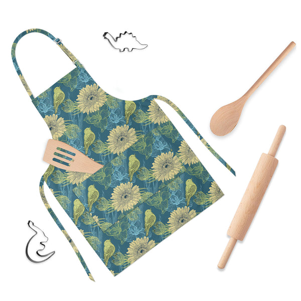 ArtzFolio Handdrawn Birds Apron | Adjustable, Free Size & Waist Tiebacks-Aprons Neck to Knee-AZ5007256APR_RF_R-SP-Image Code 5007256 Vishnu Image Folio Pvt Ltd, IC 5007256, ArtzFolio, Aprons Neck to Knee, Birds, Floral, Kids, Digital Art, handdrawn, full-length, apron, poly-cotton, fabric, adjustable, neck, buckle, waist, tiebacks, seamless, background, flowers, childrens aprons, waterproof kitchen apron, baking apron, full apron, kitchen apron, cotton apron, bib apron, housekeeping apron, kids chef apron,