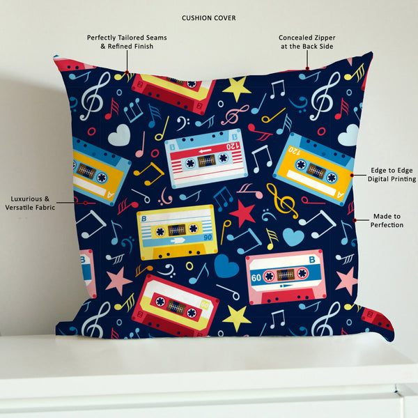 ArtzFolio Music Cassettes Cushion Cover Throw Pillow-Cushion Covers-AZHFR15639421CUS_CV_L-Image Code 5007310 Vishnu Image Folio Pvt Ltd, IC 5007310, ArtzFolio, Cushion Covers, Music & Dance, Digital Art, music, cassettes, cushion, cover, throw, pillow, canvas, fabric, seamless, pattern, notes, old, sofa throws, single throw pillow, zippered throw pillow cover, satin pillow cover, throw pillow, cushion cover only, cushion cover, pillow cover for sofa, pitaara box, throw cushion, kids cushion cover, square cu