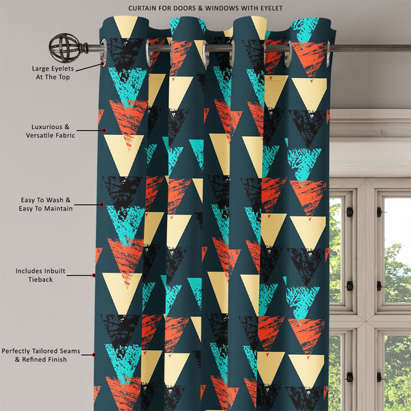ArtzFolio Triangled D4 Door, Window & Room Curtain-Room Curtains-AZ5007540CUR_RM_RF_R-SP-Image Code 5007540 Vishnu Image Folio Pvt Ltd, IC 5007540, ArtzFolio, Room Curtains, Abstract, Digital Art, triangled, d4, door, window, room, curtain, eyelets, tie, back, silk, fabric, width, 3feet, (36inch), hand, painted, bold, pattern, triangles, room curtain, valance curtain, bedroom drapes, drapes valance, wall curtain, office curtain, grommet curtain, kitchen curtain, pitaara box, window curtain, blackout drape,