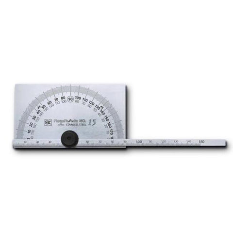STAINLESS STEEL PROTRACTOR & DEPTH GAUGE WITH RECTANGULAR BASE