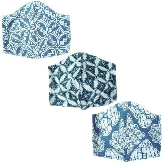 Blue Batik Cotton Face Mask XL