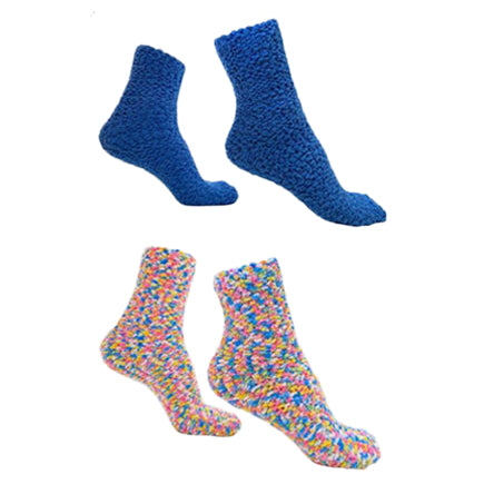 Colorful Soft and Warm Fuzzy Socks Blue 2 pack