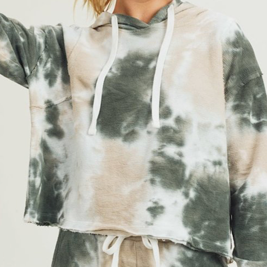 Tie Dye Jacquard Cropped Pullover