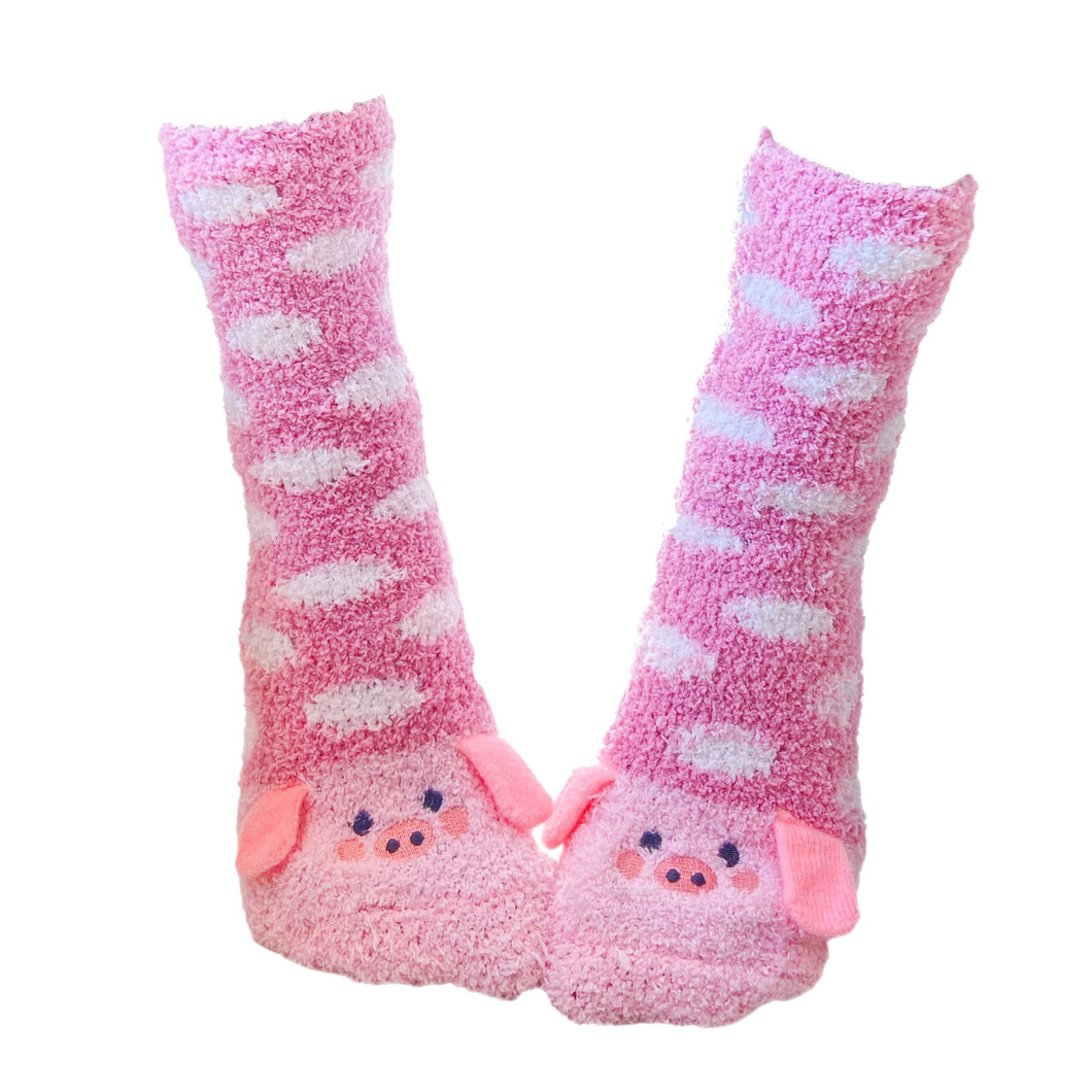 Soft and Warm Fuzzy Pig Socks with Polka Dots