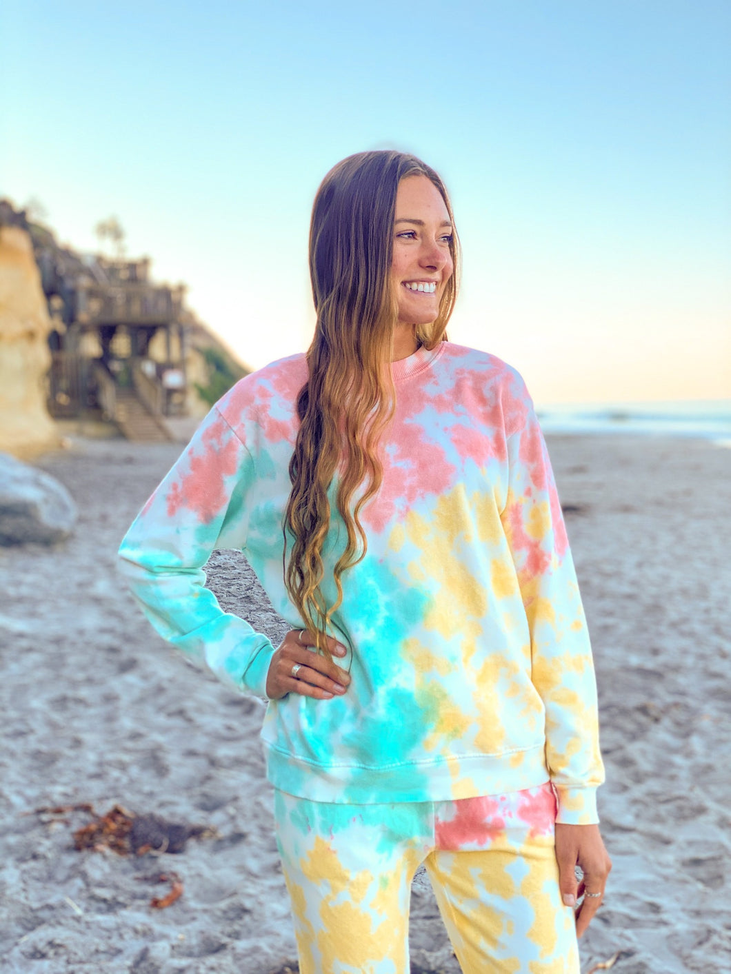 Aqua, Coral, Yellow Tie Dye Loose Tunic Sweatshirt