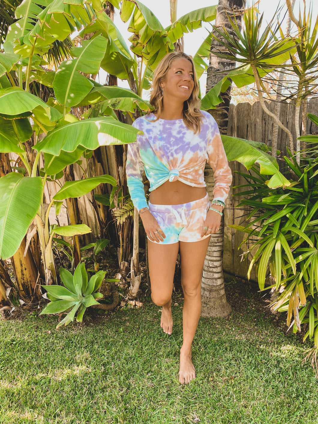 Blue, Peach, Purple Tie Dye French Terry Shorts