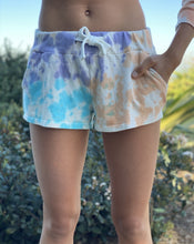 Load image into Gallery viewer, Blue, Peach, Purple Tie Dye French Terry Shorts
