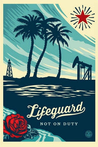 "Shepard Fairey Signed Print ""Lifeguard Not On Duty"""