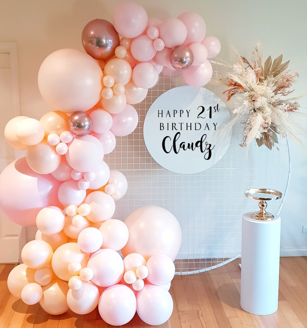 3m balloon garland || white round backdrop || personalised sign || plinth || cake stand || dried flower
