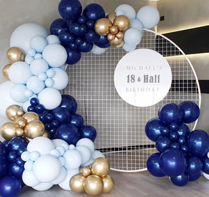4m balloon garland || white round backdrop