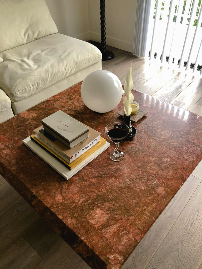 Vintage Italian Red Marble Coffee Table