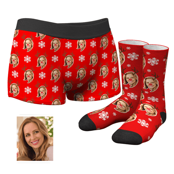 Men's Custom Christmas Reindeer Face Boxer Shorts And Socks Set