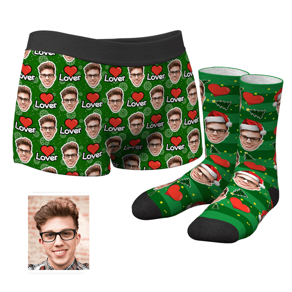 Men's Christmas Gifts Lover Custom Face Boxer Shorts And Socks Set