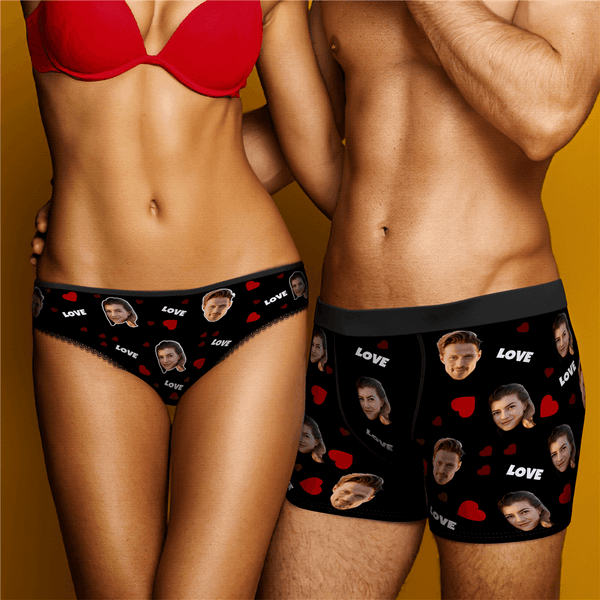 Couple Underpants Set Love And Face On Underwears