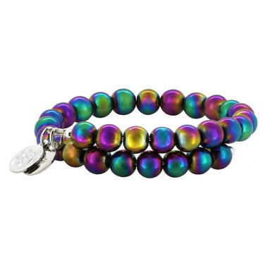 Wind & Fire Rainbow Hematite Bead Wrap, 8mm