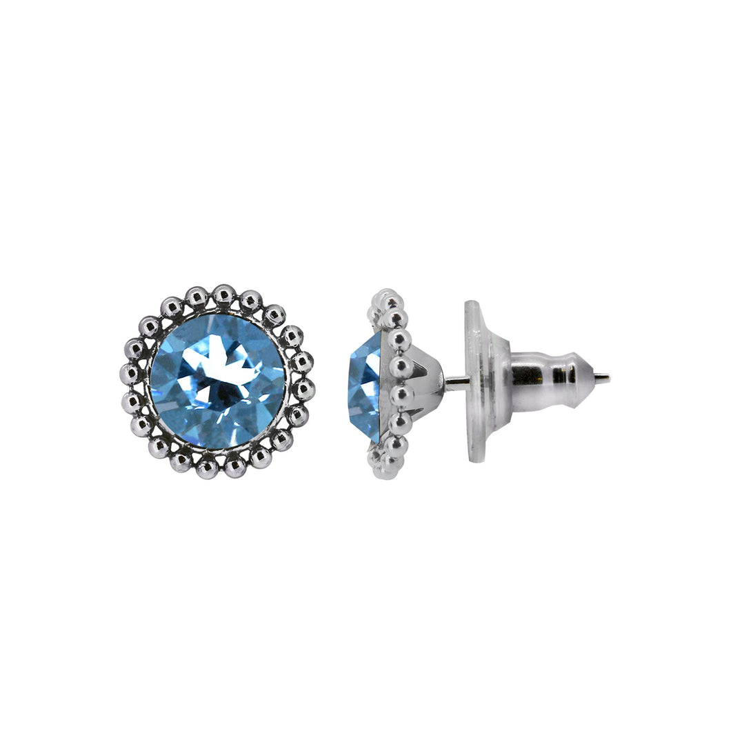 Wind & Fire March 6mm Beaded Edge Stud Earrings in 925 Sterling Silver