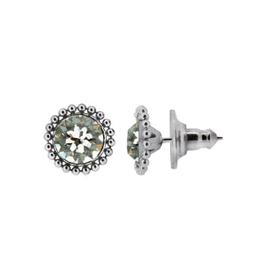 Wind & Fire April 6mm Beaded Edge Stud Earrings in 925 Sterling Silver