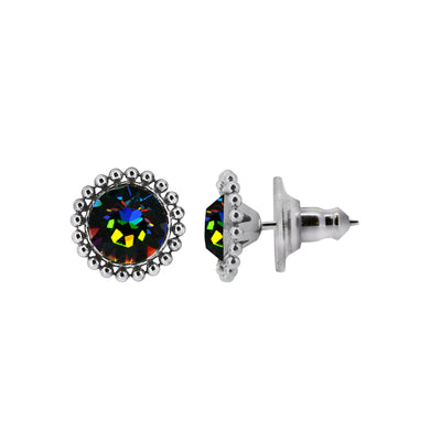 Wind & Fire EARTH 6mm Beaded Edge Stud Earrings in 925 Sterling Silver