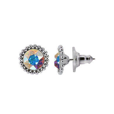 Wind & Fire WIND 6mm Beaded Edge Stud Earrings in 925 Sterling Silver