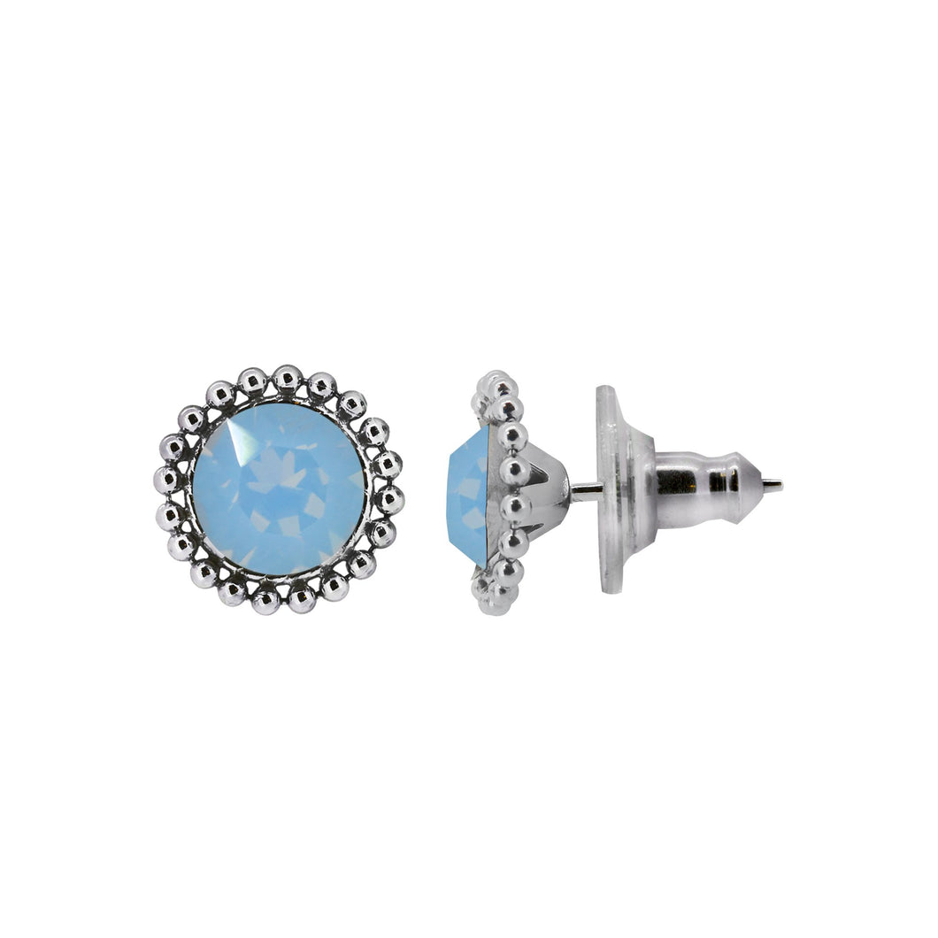 Wind & Fire Glacier 6mm Beaded Edge Stud Earrings in 925 Sterling Silver