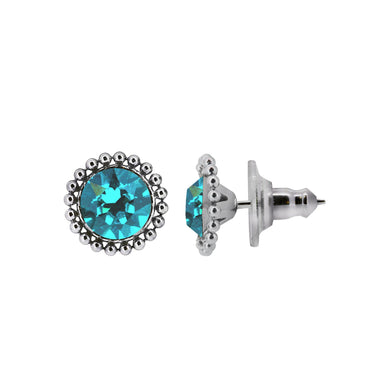 Wind & Fire Caribbean 6mm Beaded Edge Stud Earrings in 925 Sterling Silver