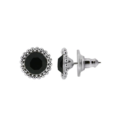 Wind & Fire Jet 6mm Beaded Edge Stud Earrings in 925 Sterling Silver