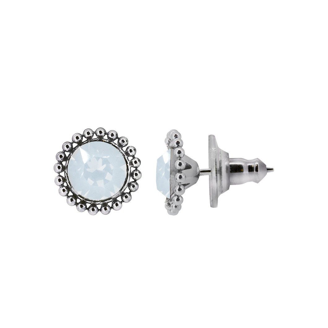 Wind & Fire Opal 6mm Beaded Edge Stud Earrings in 925 Sterling Silver