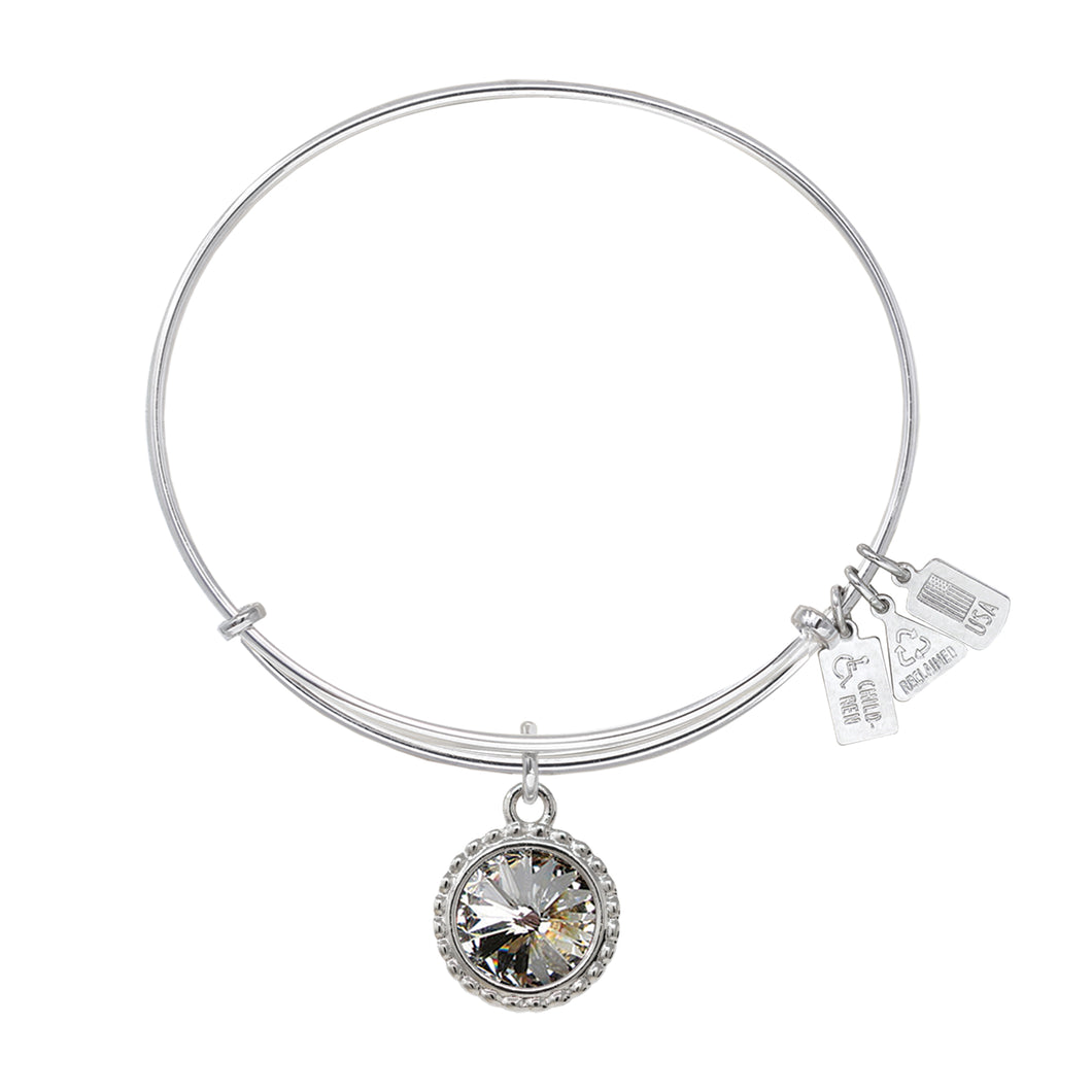 Wind & Fire April Birthstone Charm Bangle