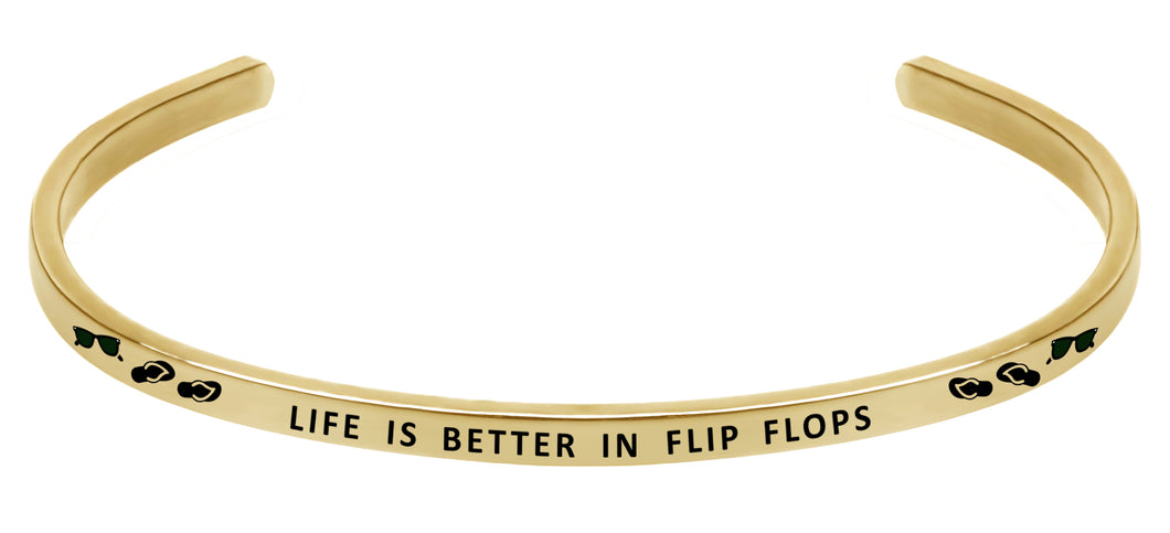 Wind & Fire Life is Better in Flip Flops Cuff Bangle