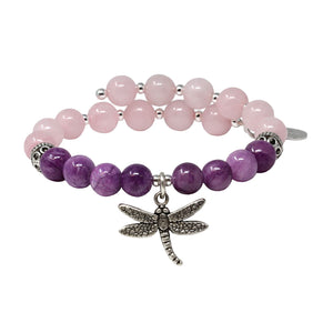 Wind & Fire Dragonfly & Rose/Purple Quartz Charm Wrap