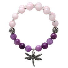 Load image into Gallery viewer, Wind & Fire Dragonfly & Rose/Purple Quartz Charm Wrap