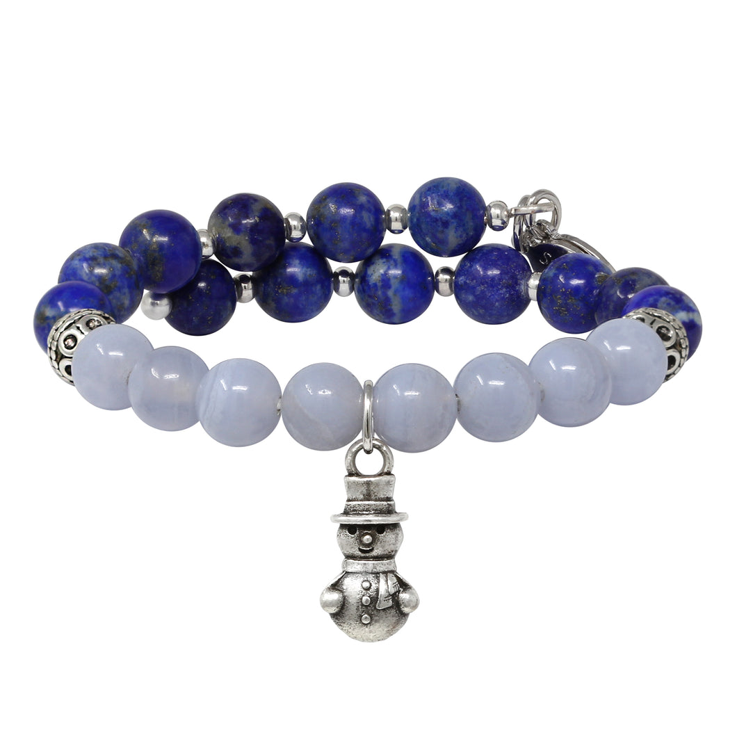 Wind & Fire Snowman & Lapis Beaded Charm Wrap