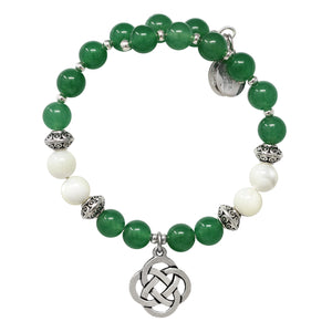 Wind & Fire Celtic Knot Green Aventurine Beaded Charm Wrap