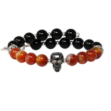 Load image into Gallery viewer, Wind & Fire Skull & Amber/Onyx Beaded Charm Wrap