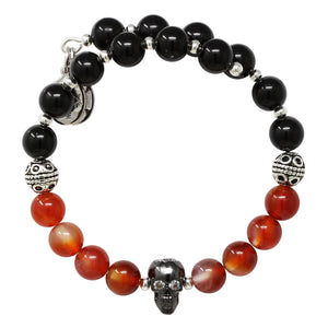 Wind & Fire Skull & Amber/Onyx Beaded Charm Wrap