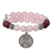 Load image into Gallery viewer, Wind & Fire Awareness Ribbon & Rose Quartz Beaded Charm Wrap