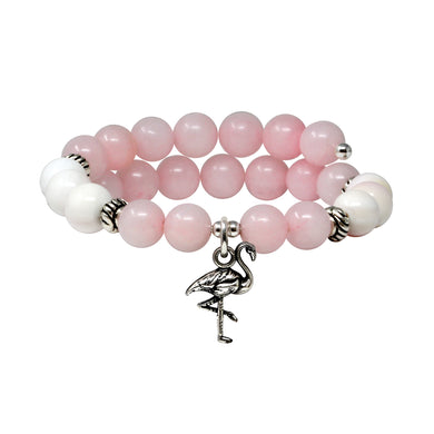 Wind & Fire Flamingo & Rose Quartz Charm Wrap