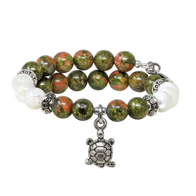 Wind & Fire Turtle & Unakite Charm Wrap