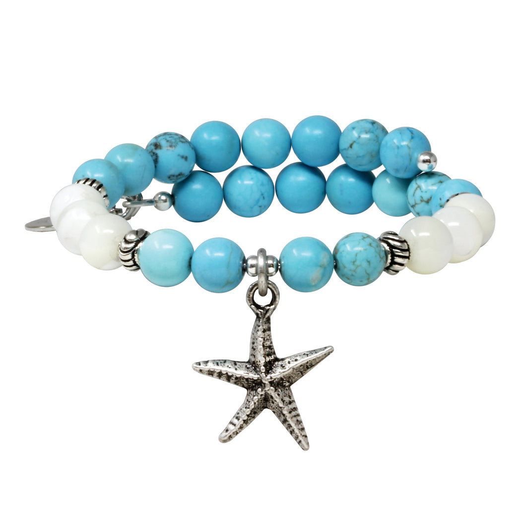 Wind & Fire Starfish & Turquoise Charm Wrap