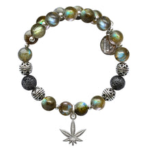 Load image into Gallery viewer, Wind & Fire Hemp Leaf & Labradorite/Lava Beaded Charm Wrap