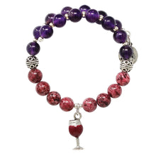Load image into Gallery viewer, Wind & Fire Red Wine Glass & Rhodonite Beaded Charm Wrap