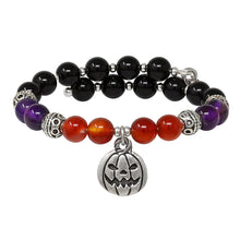 Load image into Gallery viewer, Wind & Fire Jack O'Lantern & Amber/Amethyst/Onyx Beaded Charm Wrap