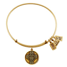 Load image into Gallery viewer, Wind & Fire Celtic Cross Charm Bangle