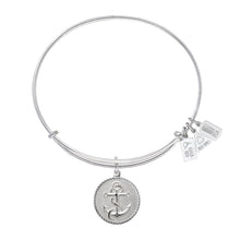 Load image into Gallery viewer, Nautical Anchor Charm Bangle