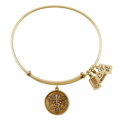 Wind & Fire Caduceus/Medical ID Charm Bangle